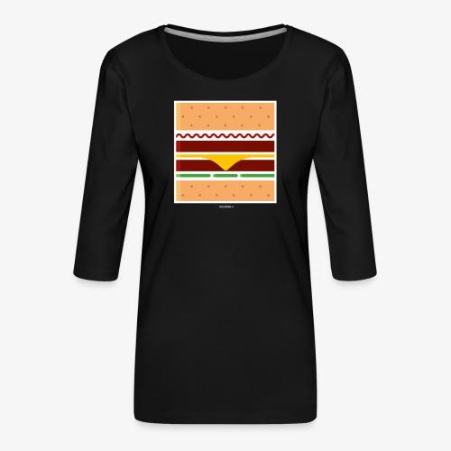 Square Burger - Maglietta da donna premium con manica a 3/4