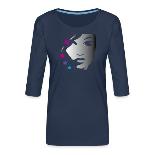 Gesicht Girl Blüten - Frauen Premium 3/4-Arm Shirt