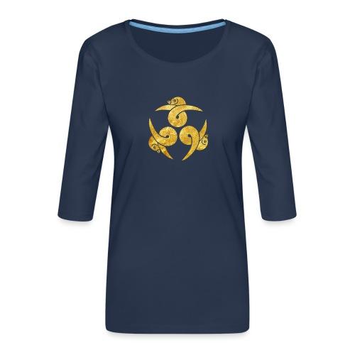 Three Geese Japanese Kamon in gold - Women's Premium 3/4-Sleeve T-Shirt