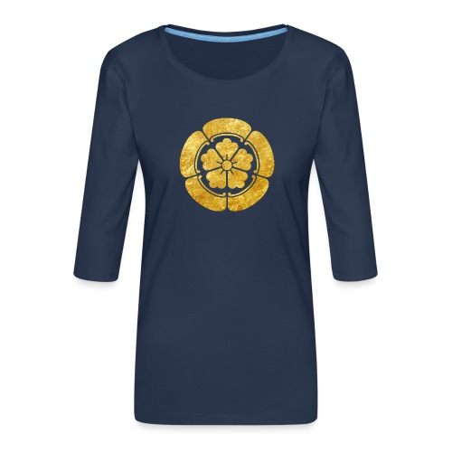 Oda Mon Japanese samurai clan faux gold on black - Women's Premium 3/4-Sleeve T-Shirt