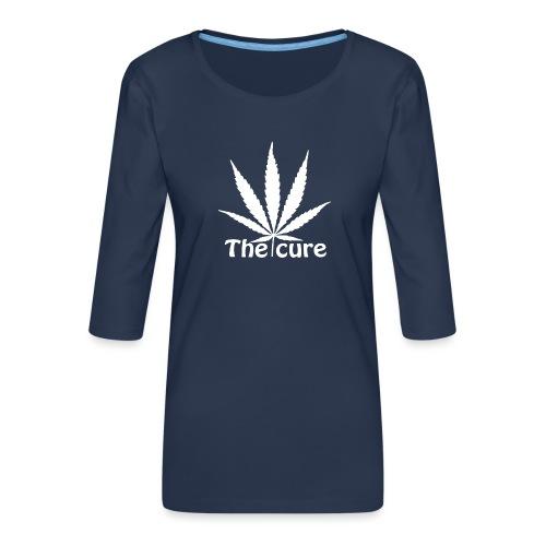 The cure of cannabis leaf. - Women's Premium 3/4-Sleeve T-Shirt