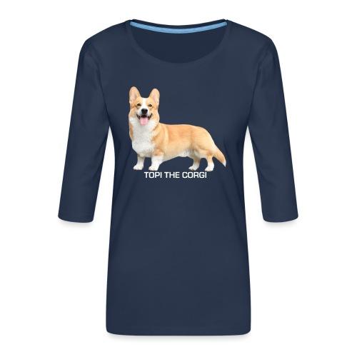 Topi the Corgi - White text - Women's Premium 3/4-Sleeve T-Shirt