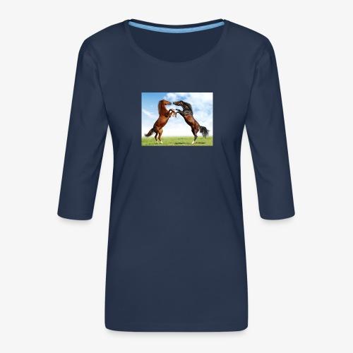 kaksi hevosta - Naisten premium 3/4-hihainen paita