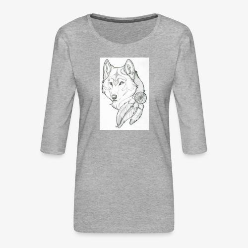wolf - Vrouwen premium shirt 3/4-mouw