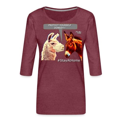 Protect Yourself Donkey - Coronavirus - Camiseta premium de manga 3/4 para mujer