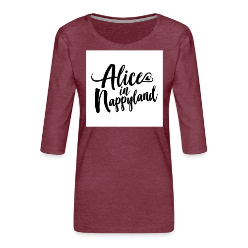 Alice in Nappyland Typography Black 1080 1 - Women's Premium 3/4-Sleeve T-Shirt