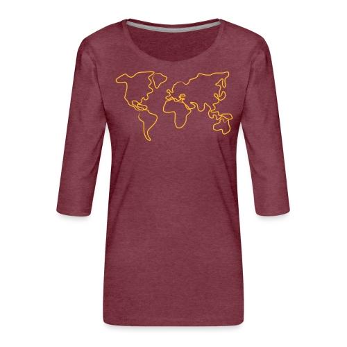 Wereldkaart - Vrouwen premium shirt 3/4-mouw