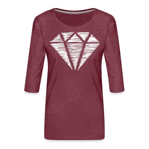 Diamante blanco - Camiseta premium de manga 3/4 para mujer