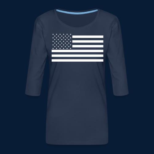 Stars and Stripes White - Frauen Premium 3/4-Arm Shirt