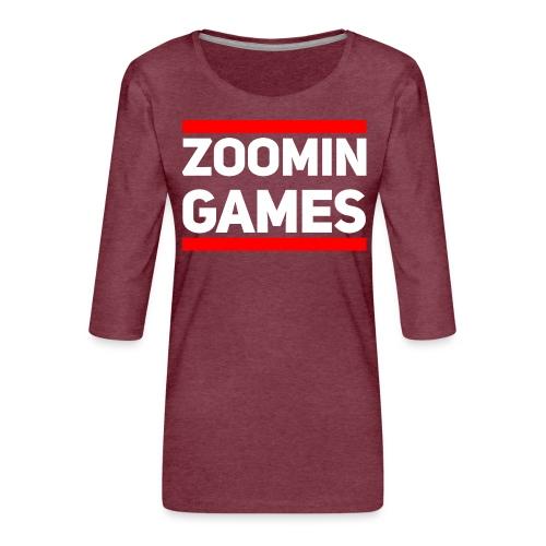 9815 2CRun ZG White - Women's Premium 3/4-Sleeve T-Shirt