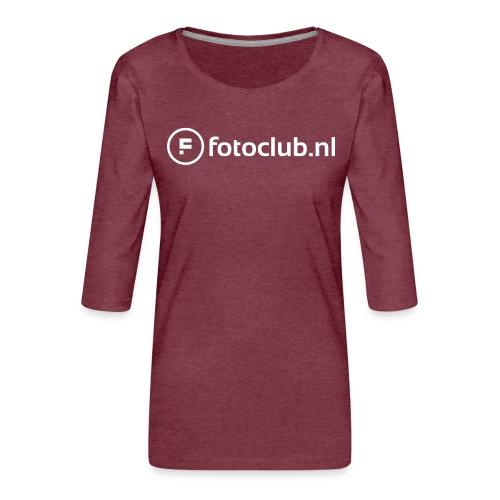 Logo Wit Fotoclublnl - Vrouwen premium shirt 3/4-mouw