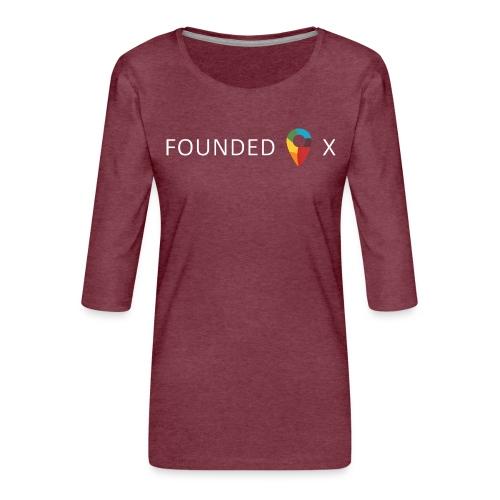 FoundedX logo white png - Women's Premium 3/4-Sleeve T-Shirt