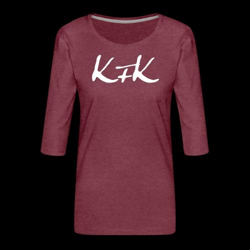 KFK logo blanco - Camiseta premium de manga 3/4 para mujer
