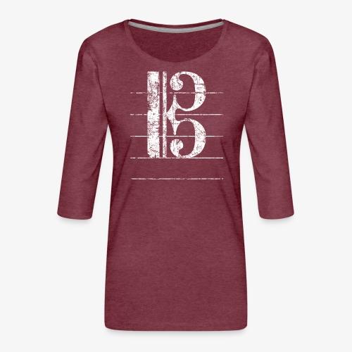 Tenorschlüssel - Notenschlüssel Cello / Posaune - Frauen Premium 3/4-Arm Shirt