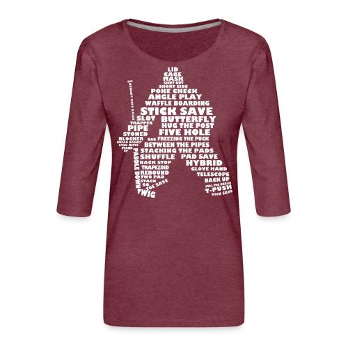 Hockey Goalie Typography Word Art - Women's Premium 3/4-Sleeve T-Shirt