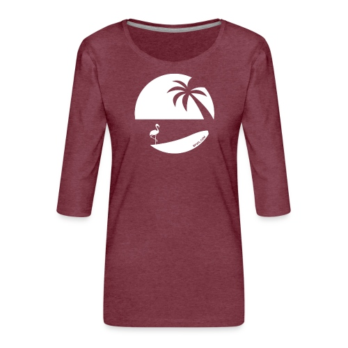 Logo French Floridian blanc - T-shirt Premium manches 3/4 Femme