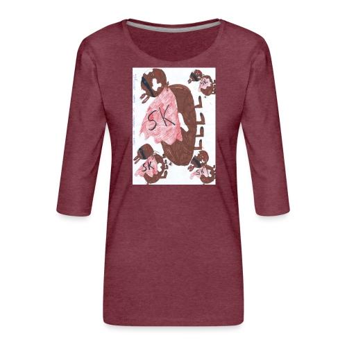 superkonijn jpg - Vrouwen premium shirt 3/4-mouw