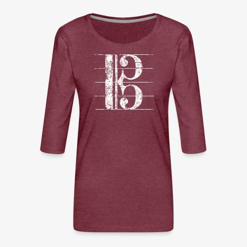 Altschlüssel, Bratschenschlüssel, Notenschlüssel - Frauen Premium 3/4-Arm Shirt