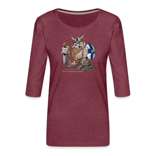 FINLAND VIKING T-paidat, tekstiilit ja lahjaideat - Naisten premium 3/4-hihainen paita
