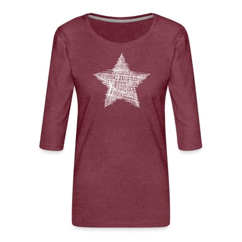 Estrella blanca - Camiseta premium de manga 3/4 para mujer
