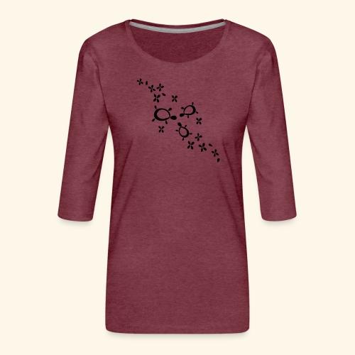 blumige Schildis - Frauen Premium 3/4-Arm Shirt