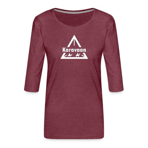 Karavaan White (High Res) - Vrouwen premium shirt 3/4-mouw