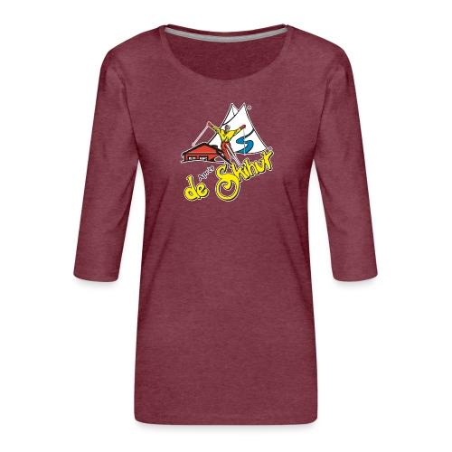 14787 fl tshirt logo skihut rotterdam - Vrouwen premium shirt 3/4-mouw