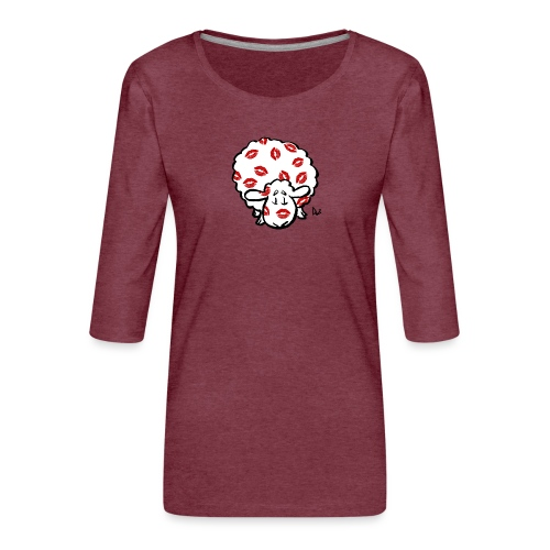 Beso oveja - Camiseta premium de manga 3/4 para mujer