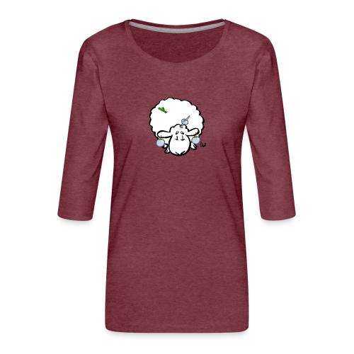 Ovejas del árbol de Navidad - Camiseta premium de manga 3/4 para mujer