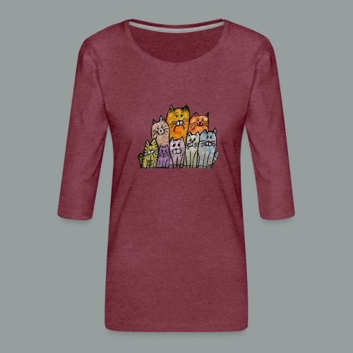 Katzenbande - Frauen Premium 3/4-Arm Shirt