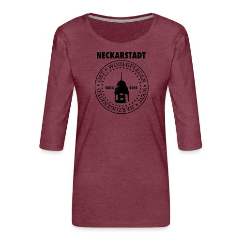 Neckarstadt Blog seit 2014 (Logo dunkel) - Frauen Premium 3/4-Arm Shirt