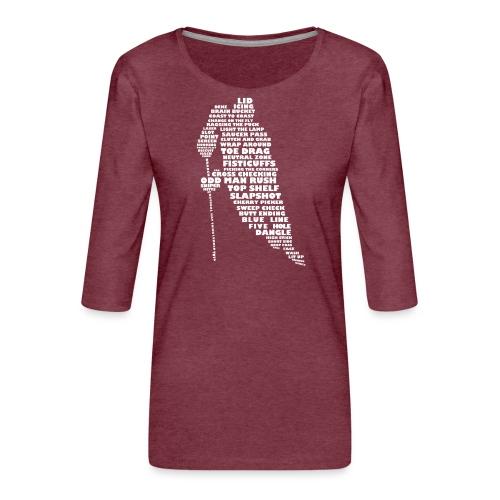 Language of Hockey (White) - Women's Premium 3/4-Sleeve T-Shirt