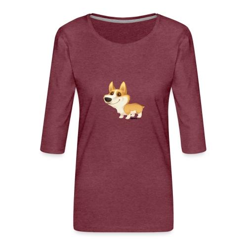 Corgi - Premium T-skjorte med 3/4 erme for kvinner
