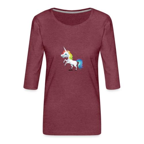 Rainbow enhjørning - Premium T-skjorte med 3/4 erme for kvinner