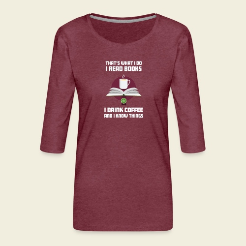 Buch und Kaffee, hell - Frauen Premium 3/4-Arm Shirt