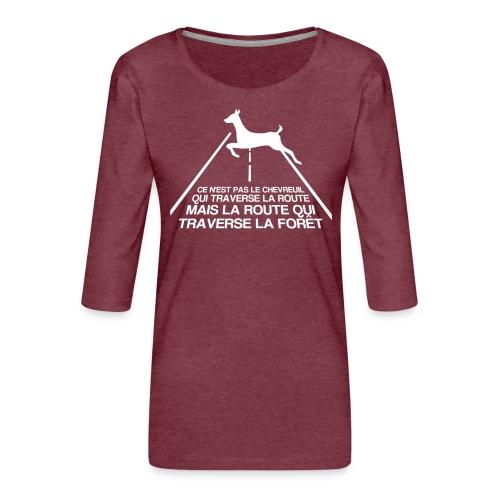 Chevreuil blanc - T-shirt Premium manches 3/4 Femme