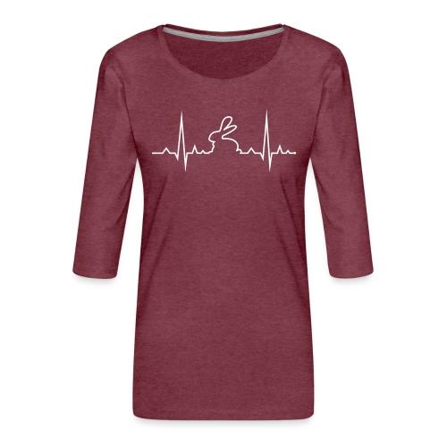 EKG Herzschlag Hase Kaninchen Zwergkaninchen - Frauen Premium 3/4-Arm Shirt