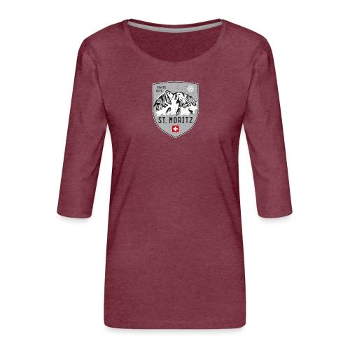 St. Moritz coat of arms - Women's Premium 3/4-Sleeve T-Shirt