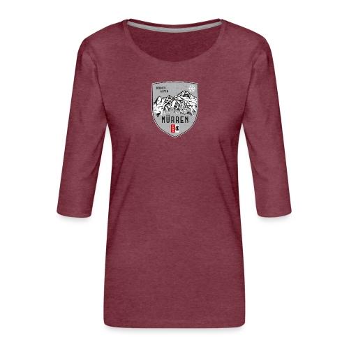 Eiger, Mönch und Jungfrau mit Mürren Flagge - Women's Premium 3/4-Sleeve T-Shirt