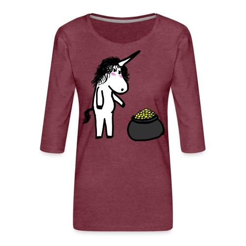 Oro unicorno - Maglietta da donna premium con manica a 3/4