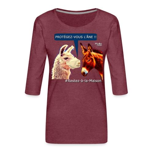PROTEGEZ-VOUS L'ÂNE !! - Coronavirus - Women's Premium 3/4-Sleeve T-Shirt