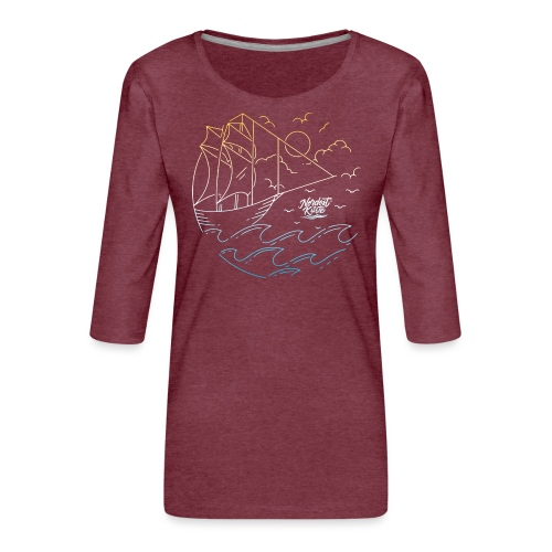 Schiff mit Sonne und Meer - Frauen Premium 3/4-Arm Shirt