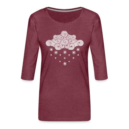 nuage blanc et flocons vacances d'hiver - T-shirt Premium manches 3/4 Femme