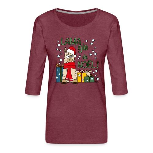 Lama, Magie de Noël, Happy Christmas, Pull moche - T-shirt Premium manches 3/4 Femme