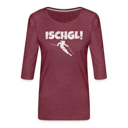 Ischgl Skifahrerin (Weiß) Wintersport Apres-Ski - Frauen Premium 3/4-Arm Shirt