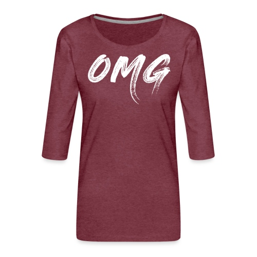 OMG, valkoinen - Naisten premium 3/4-hihainen paita
