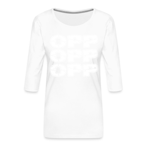 OPP Logo White - Naisten premium 3/4-hihainen paita