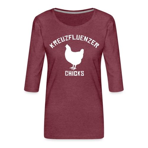 Kreuzfluenzer Chicks WHITE - Frauen Premium 3/4-Arm Shirt