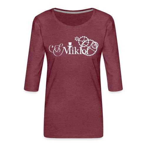 miklof logo white 3000px - Women's Premium 3/4-Sleeve T-Shirt