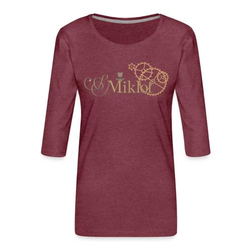 miklof logo gold outlined 3000px - Women's Premium 3/4-Sleeve T-Shirt
